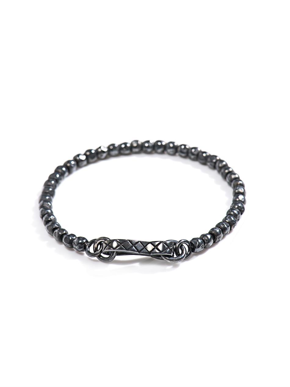 bottega veneta intrecciato oxidised silver bracelet in