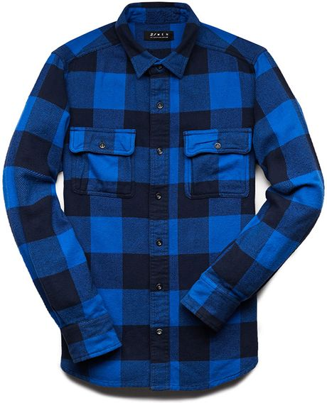 Forever 21 classic fit buffalo plaid shirt in blue for men for Navy blue plaid shirt