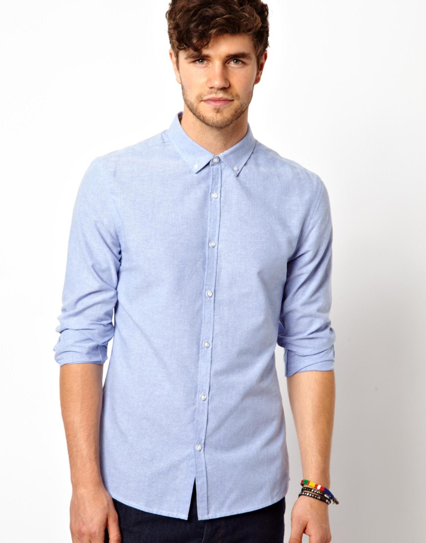 Lyst aldo oxford shirt in blue for men for Mens blue oxford shirt