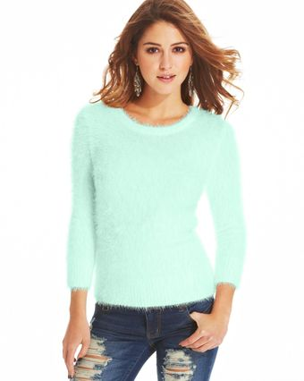 Almost Famous Three Quarter Sleeve Eyelash Knit Sweater - Lyst