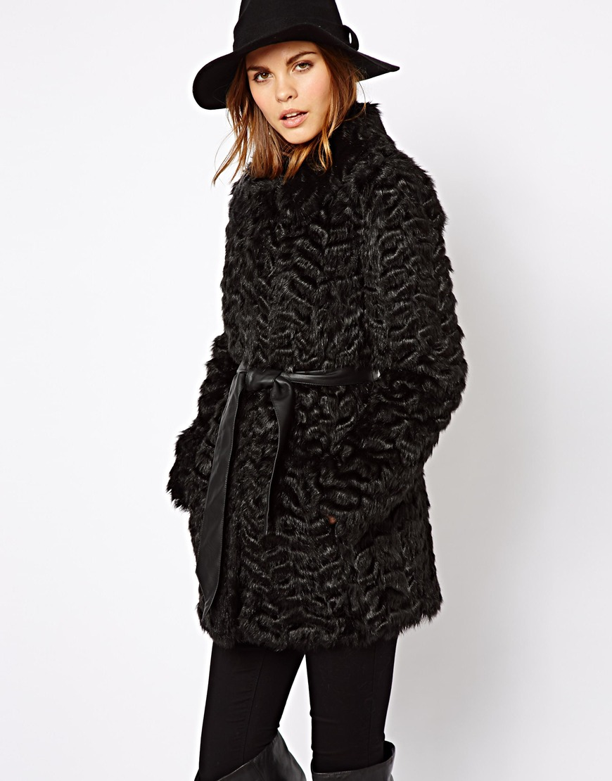 Asos Warehouse Faux Fur Coat in Black | Lyst