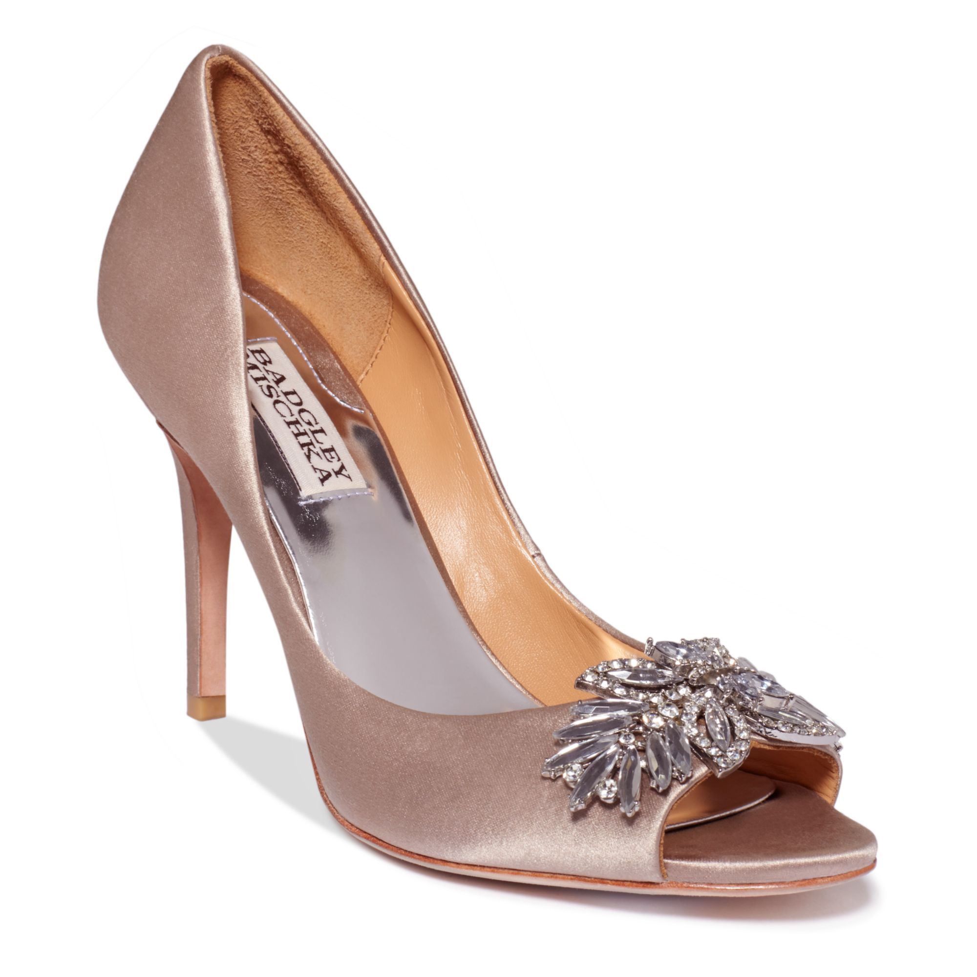 Badgley Mischka Buzz Pumps In Gray (Taupe Satin)