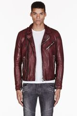Balmain Burgundy Leather Biker Jacket - Lyst