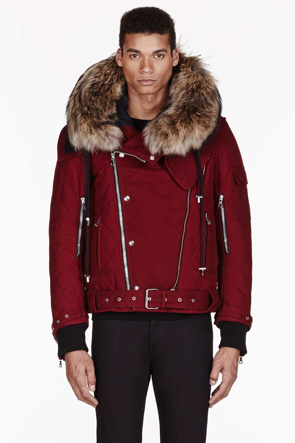 Lyst Balmain Quilted Cotton Parka In Red For Men
