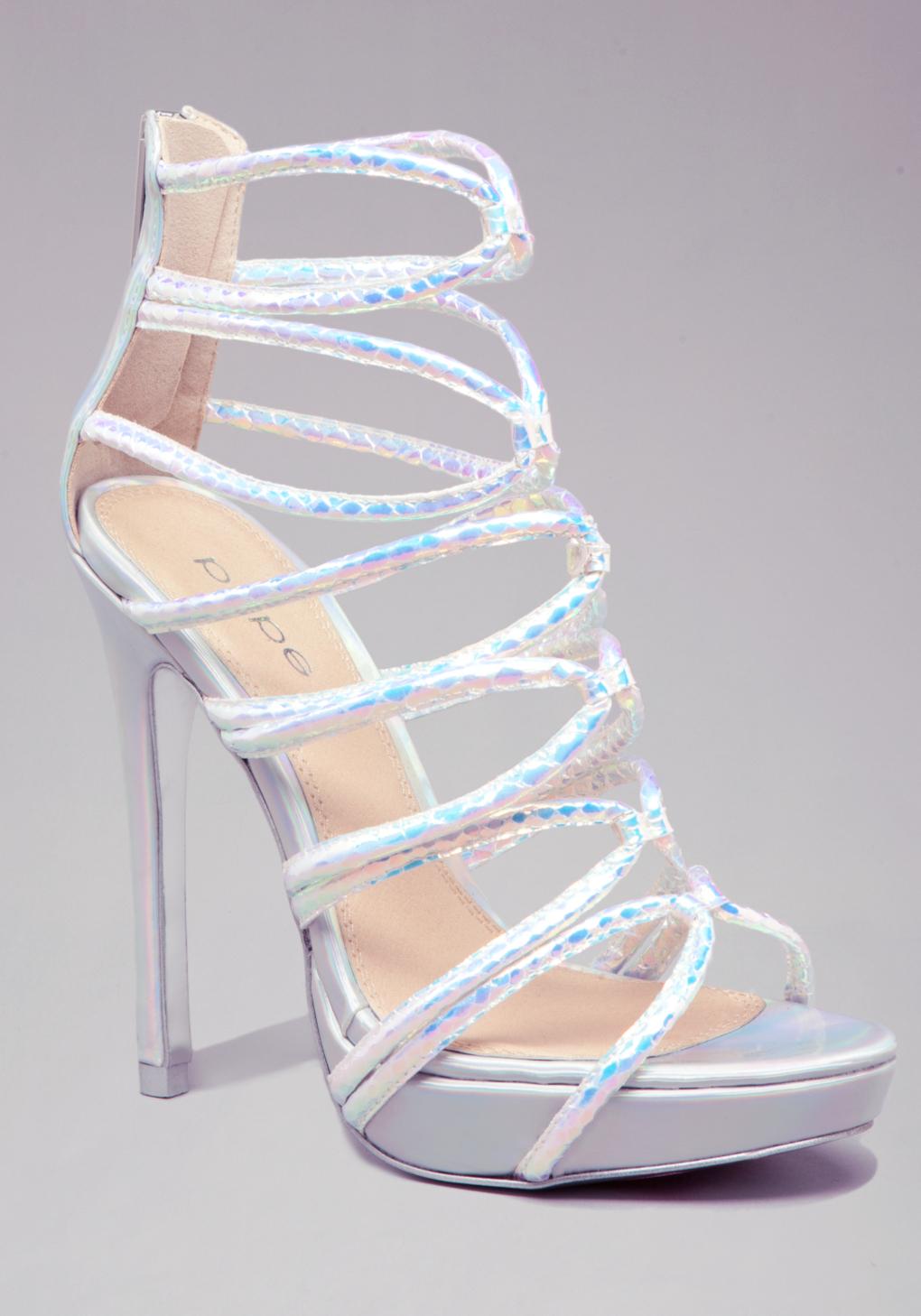2ec76f80415 Lyst - Bebe Hologram Strappy Sandal in Metallic