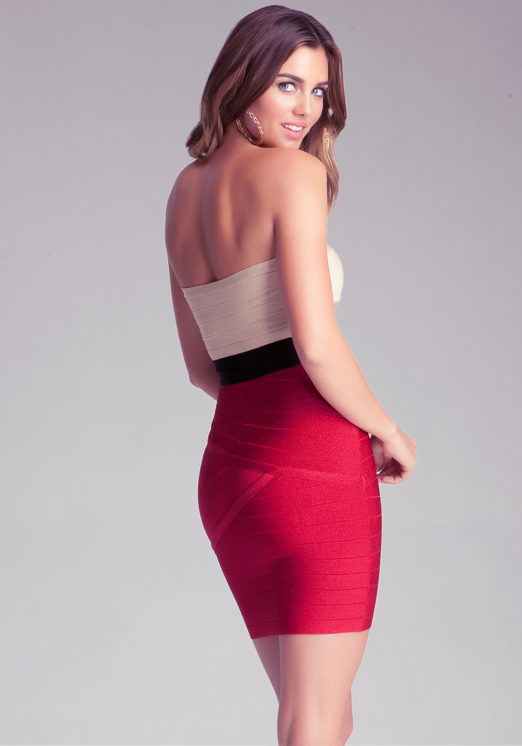 Bebe Strapless Colorblock Dress in Red  Lyst