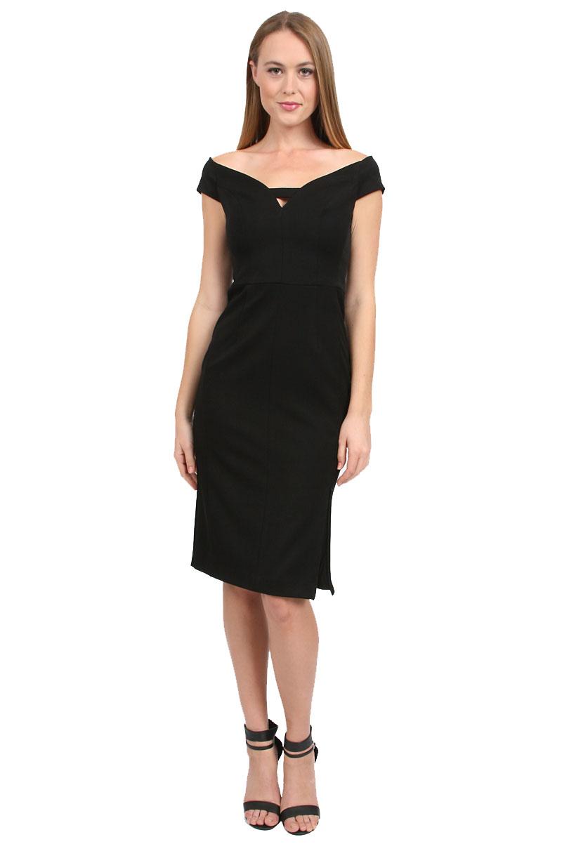 black halo riya sheath dress in black lyst