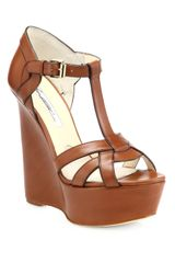 Brian Atwood Sema Leather Wedge Sandals - Lyst