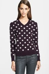 Burberry Brit Polka Dot Cotton Cashmere Vneck Sweater - Lyst