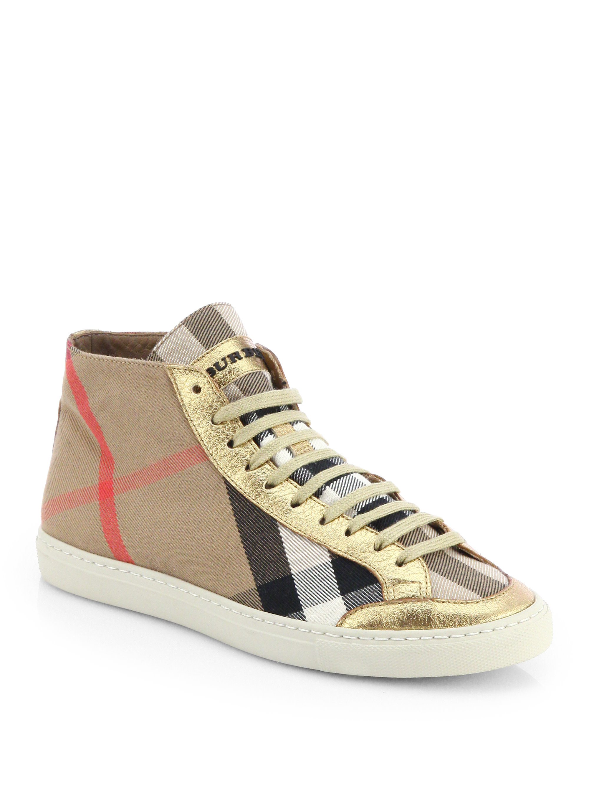 Burberry Montfords Metallic Leathertrimmed Check Sneakers