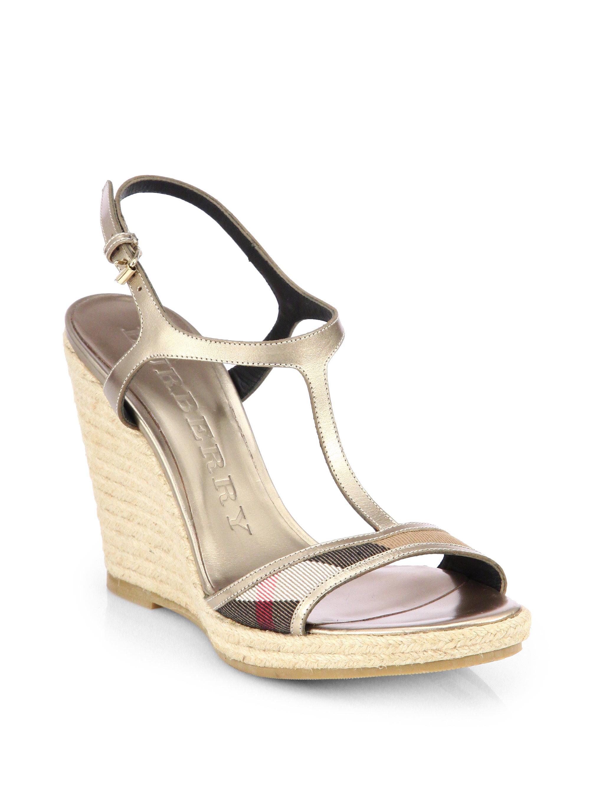 Burberry Leeham Metallic Leather Canvas Wedge Sandals In