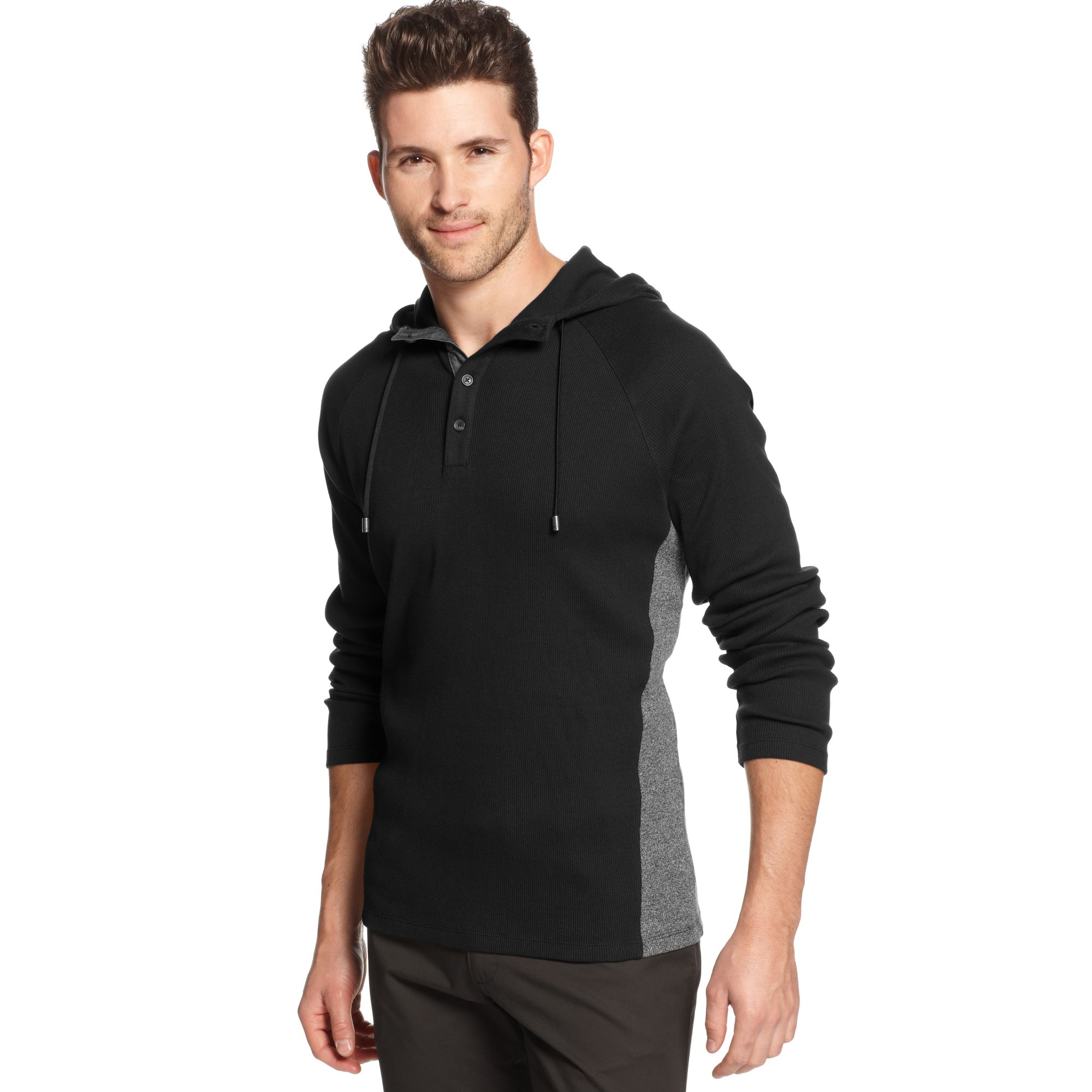 calvin klein jeans henley hoodie in black for men lyst. Black Bedroom Furniture Sets. Home Design Ideas