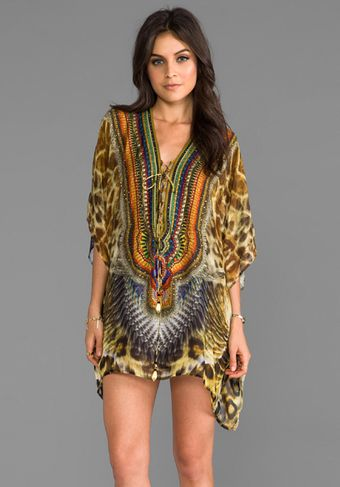 Camilla At Talons Length Short Lace Up Kaftan in Tan - Lyst