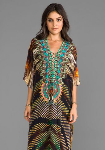 Camilla Animism Long Lace Up Kaftan in Burnt Orange - Lyst
