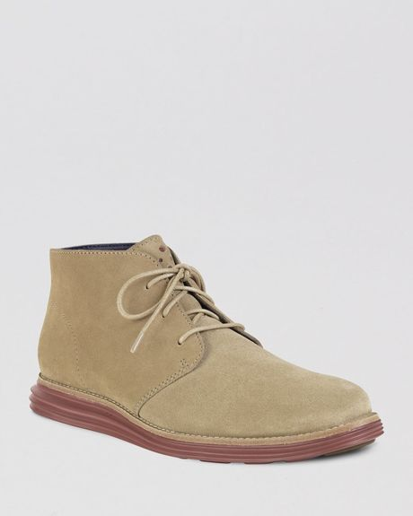 cole haan lunargrand suede chukka boots in khaki for