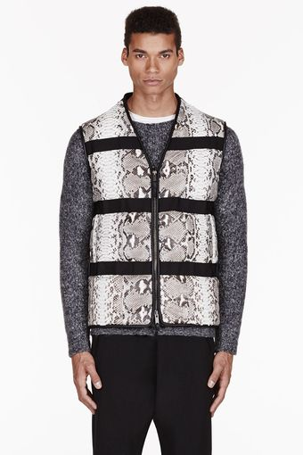 Damir Doma Black and Grey Python Leather Werdo Vest - Lyst
