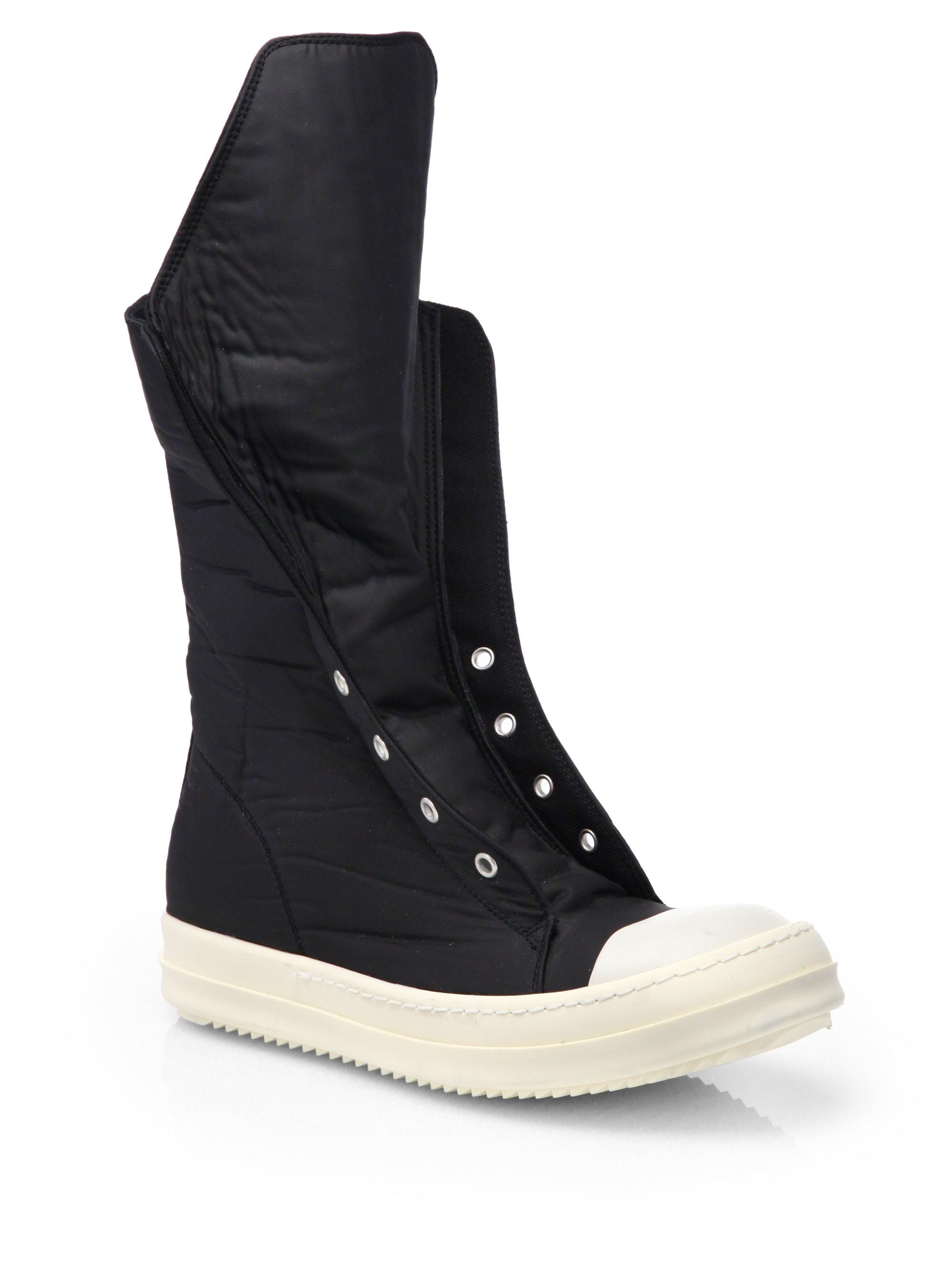 drkshdw by rick owens ramones hightop sneaker boots in black lyst. Black Bedroom Furniture Sets. Home Design Ideas