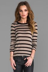 Enza Costa Cashmere Stripe Bold Crew in Black - Lyst