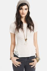Free People Lace Hem Peplum Top - Lyst