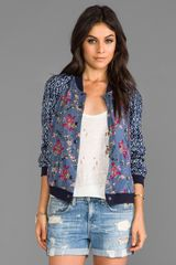 Free People Floral Printed Baseball Jacket in Navy - Lyst