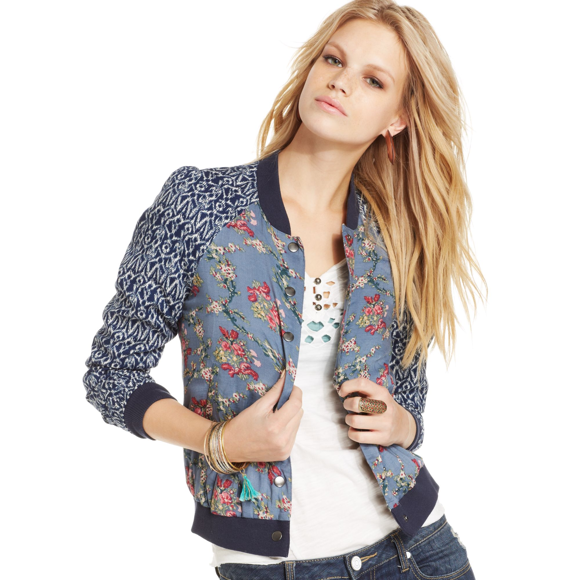 Free people Printed Bomber Jacket in Blue | Lyst