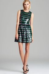 French Connection Dress Siberian Stripe Sequin - Lyst
