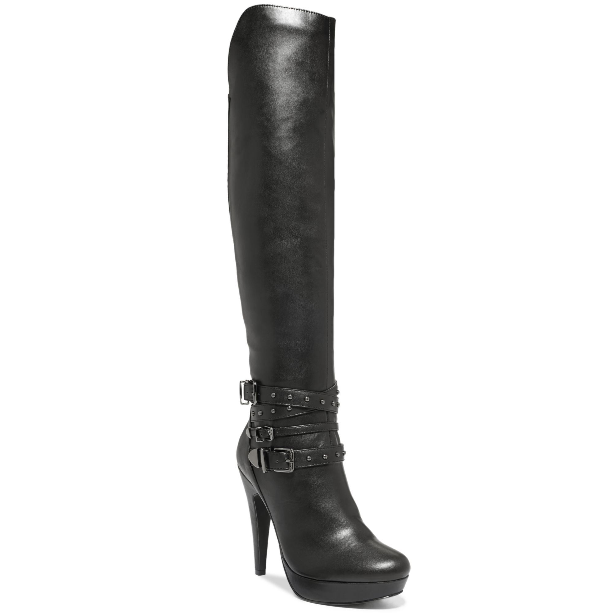 g by guess dea knee high studded boots in black lyst