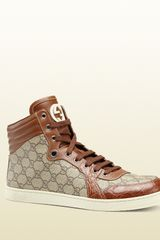 Gucci Hitop Laceup Sneaker with Interlocking G Detail - Lyst