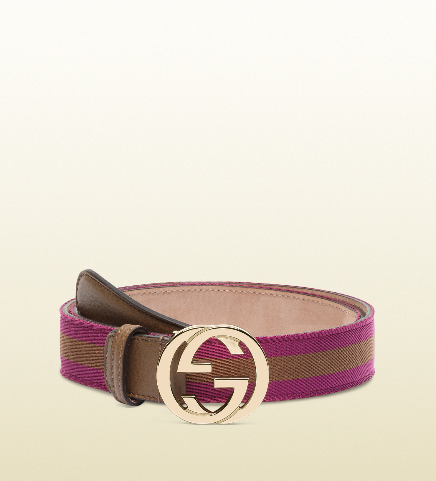 d7daf567ced Lyst - Gucci Nylon Web Belt with Interlocking G Buckle in Brown for Men