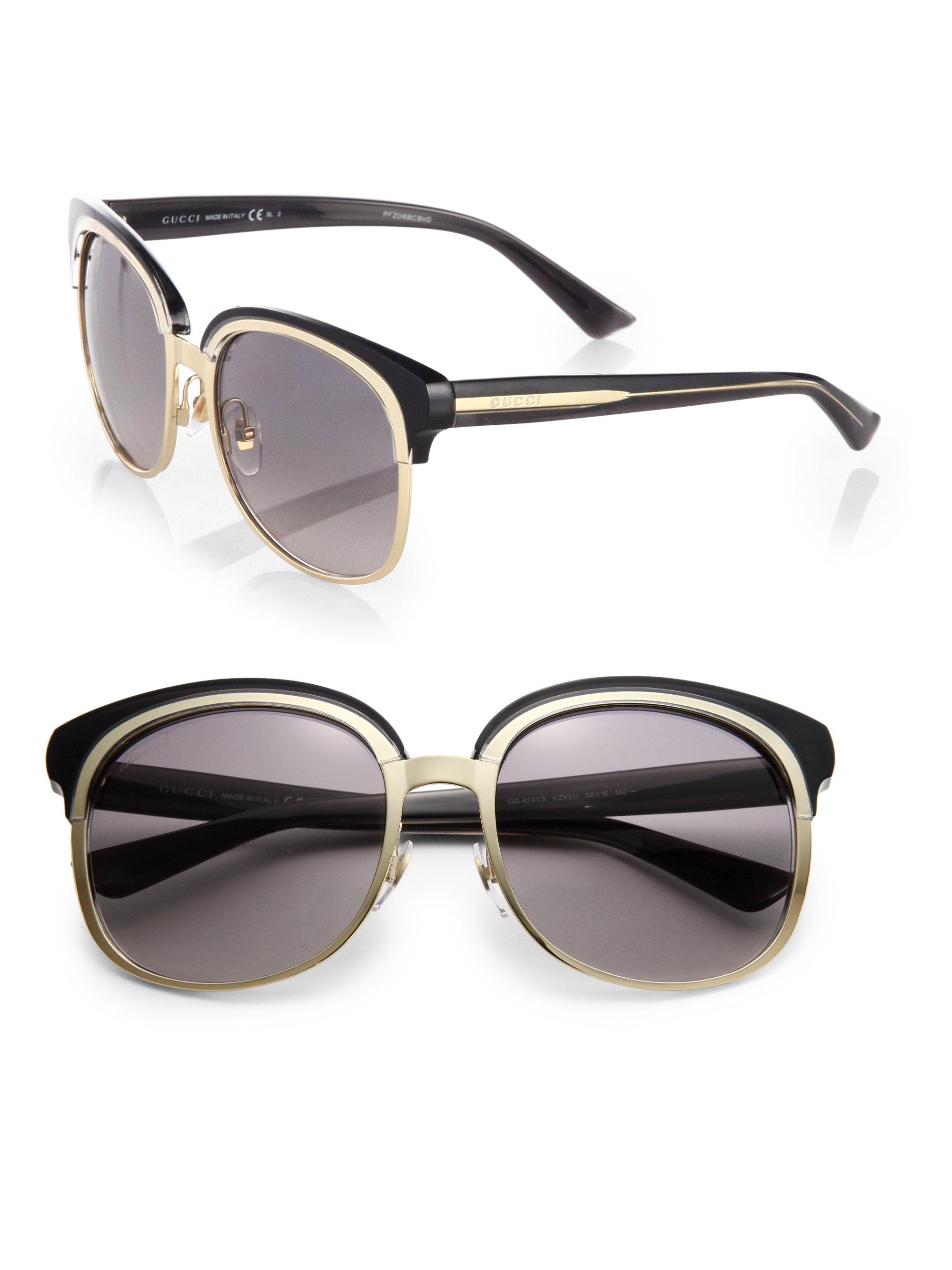 509e02c7019 Lyst - Gucci Oversized Plastic Metal Round Sunglasses in Metallic