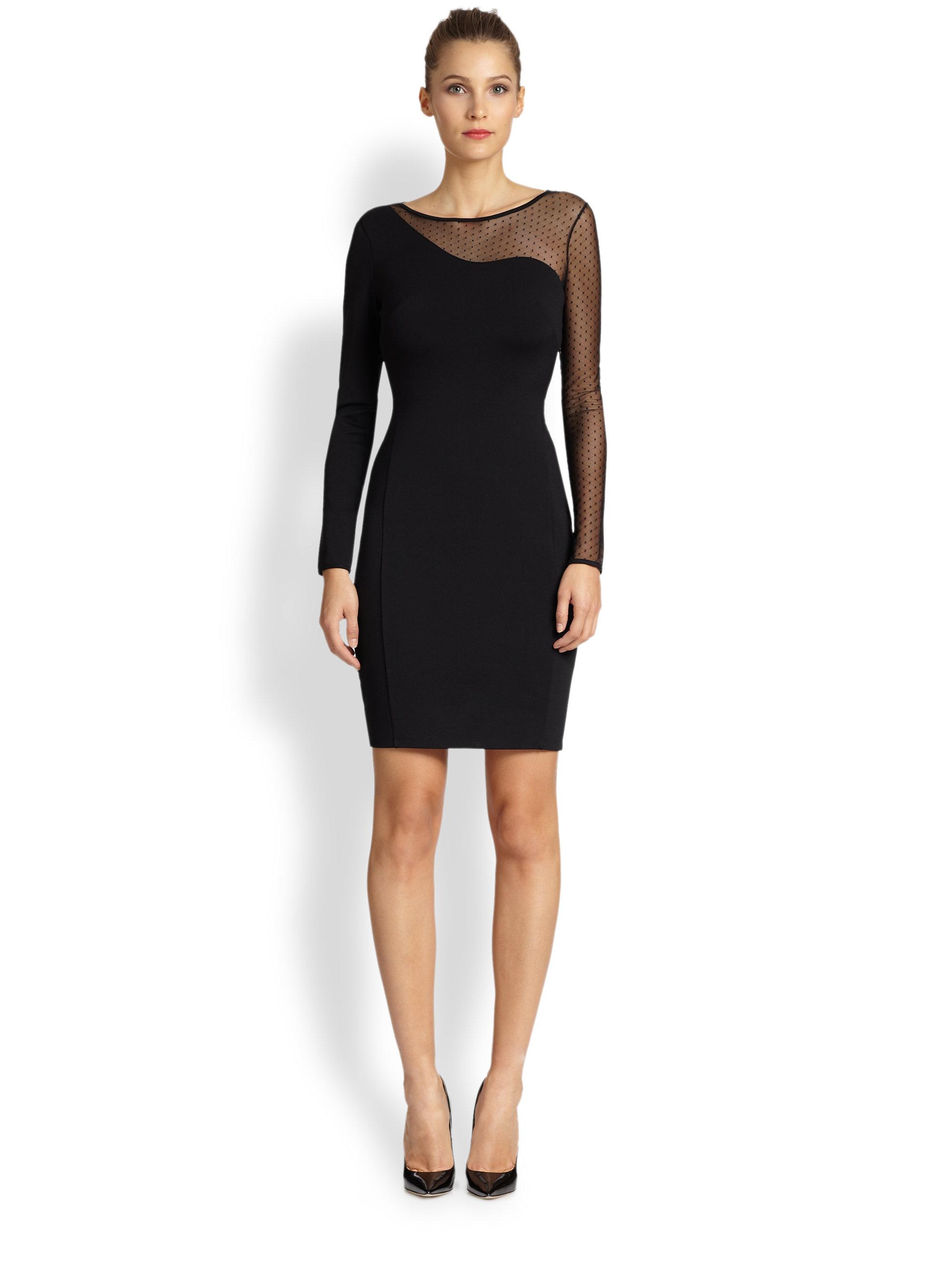 Halston Mesh Ponte Knit Asymmetrical Dress in Black  Lyst