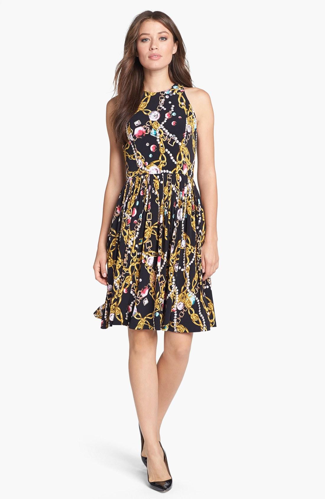 Isaac Mizrahi New York Print Jersey Fit Flare Dress In