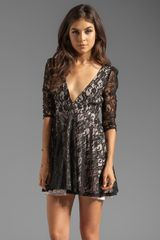 Jarlo Sylvia 34 Sleeve Deep Vneck Lace Mini Dress in Black - Lyst