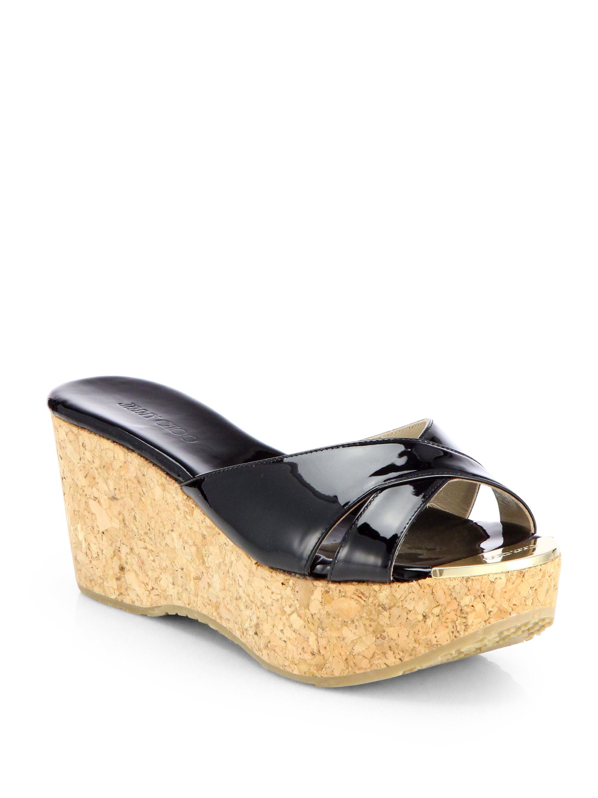 Jimmy Choo Prima Patent Leather Cork Wedge Sandals In