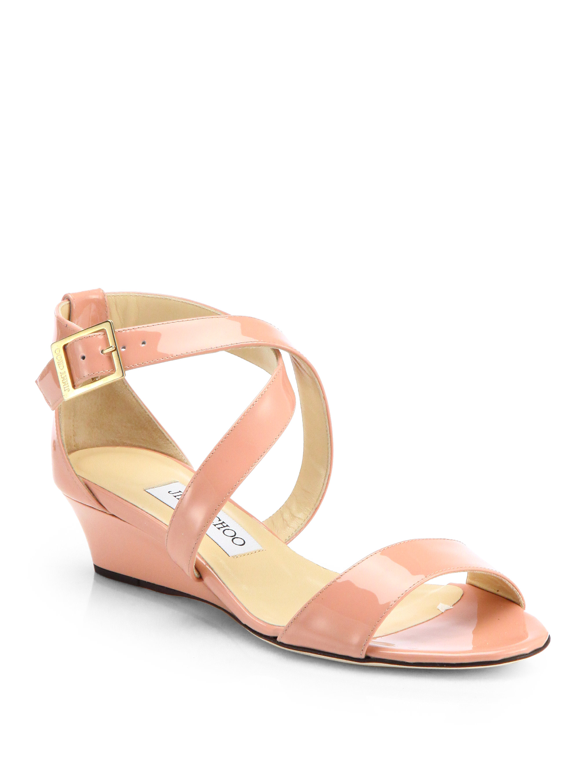 57469092666 Lyst - Jimmy Choo Chiara Patent Leather Wedge Sandals in Pink