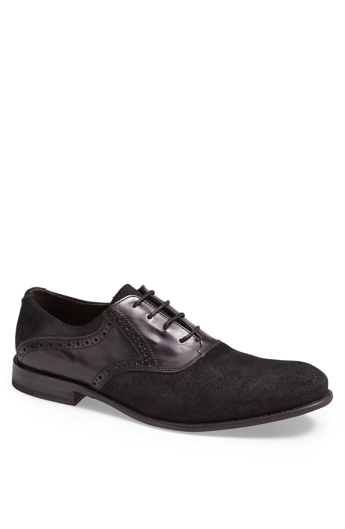 varvatos sid buck laceless saddle shoe in black for