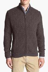 John W. Nordstrom® Full Zip Cable Knit Cashmere Sweater - Lyst
