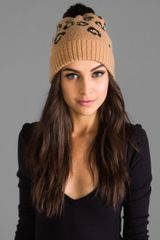 Juicy Couture Leopard Print Beanie with Faux Fur in Brown - Lyst
