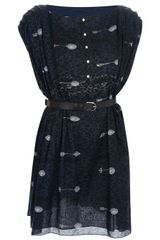 Julien David Spoon Print Belted Dress - Lyst