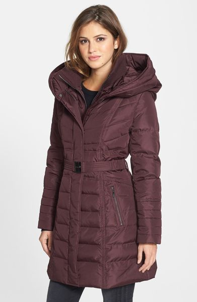 Kensie Belted Down Feather Jacket In Red Wine Lyst