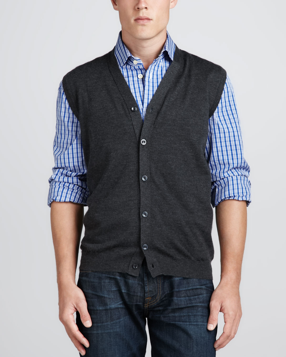 Kiton Cardigan Sweater Vest in Gray for Men | Lyst