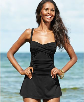 La Blanca Twistfront Ruched Swimdress - Lyst
