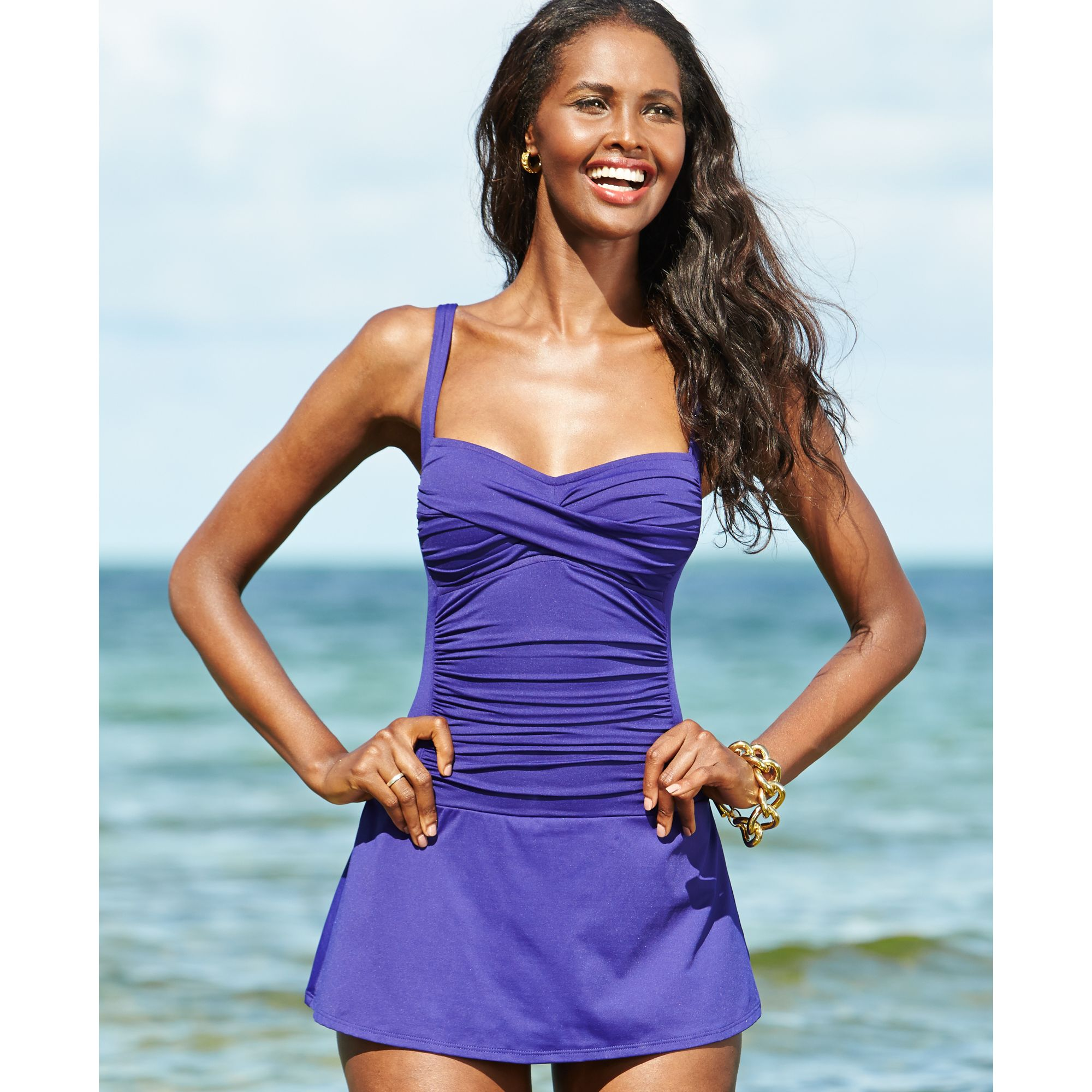La Blanca Twistfront Ruched Swimdress In Purple Lyst