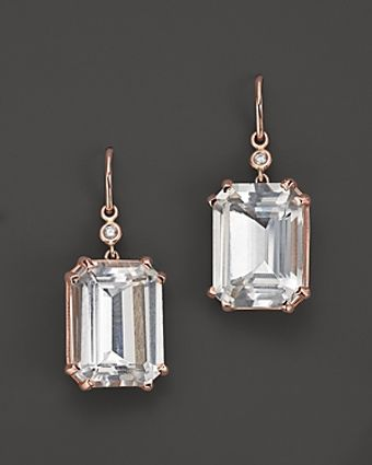 Lisa Nik 18k Rose Gold Octagon Quartz and Diamond Earrings - Lyst