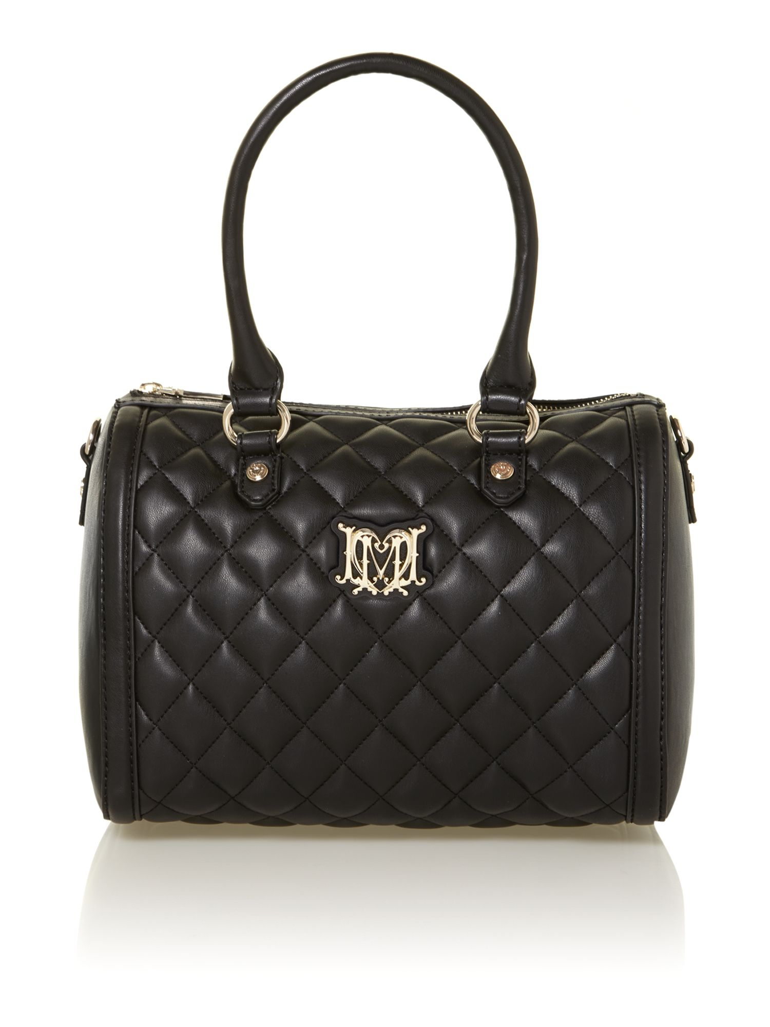 love moschino black medium quilted bowling bag in black lyst. Black Bedroom Furniture Sets. Home Design Ideas