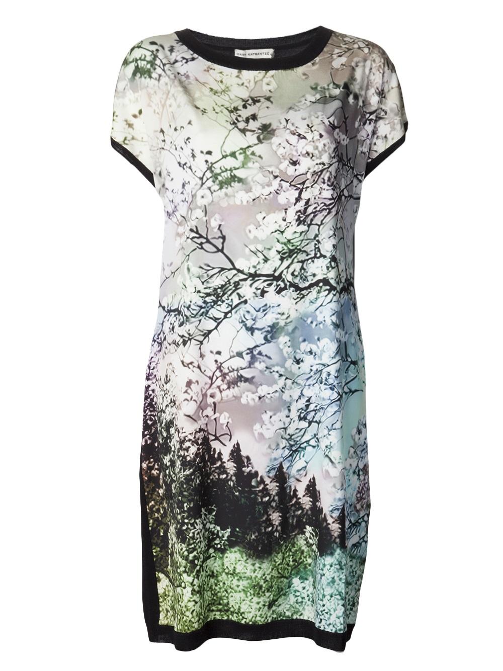 Mary Katrantzou Tree Print Dress In Multicolor