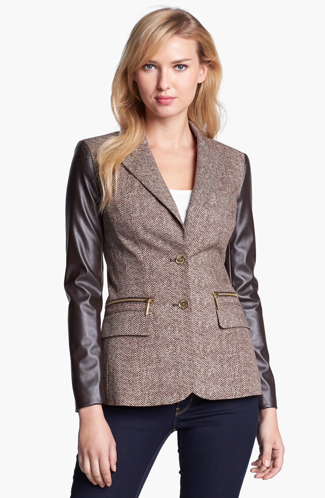 michael michael kors faux leather sleeve tweed blazer in brown chocolate lyst. Black Bedroom Furniture Sets. Home Design Ideas
