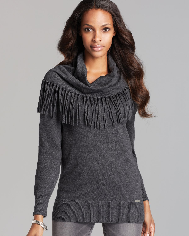 Michael Michael Kors Fringe Cowl Neck Sweater In Gray