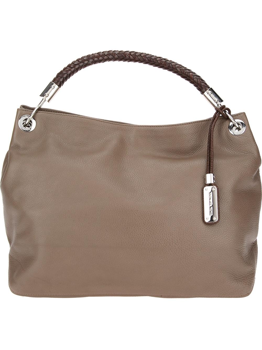 michael kors skorpios large shoulder bag in beige brown
