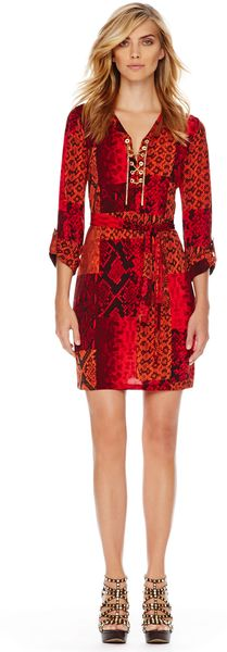 Michael Kors Michael Printed Chainneck Dress - Lyst
